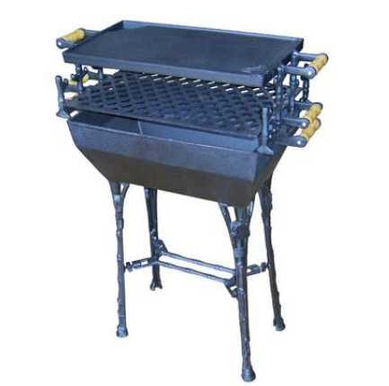 A churrasqueira em ferro fundido funciona como as de latão