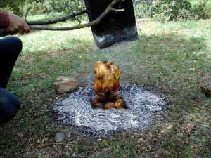 Um delicioso assado de frango no fogo de chão